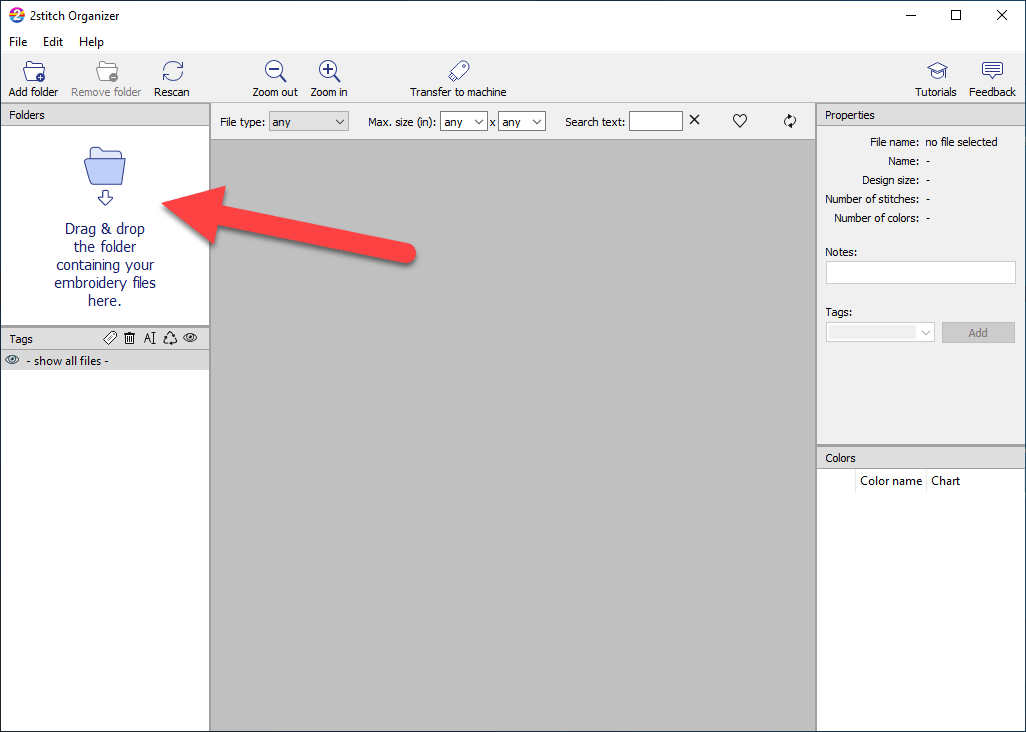 How to import embroidery files into 2stitch Organizer